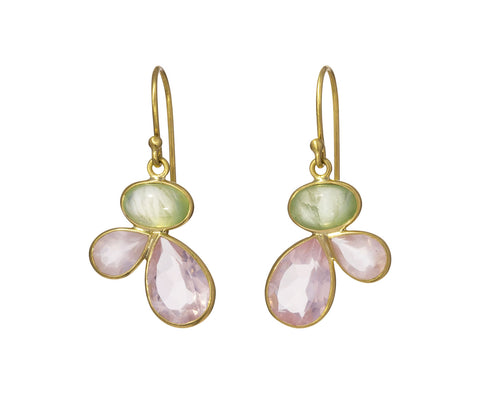 Prehnite and Rose Quartz Petal Earrings