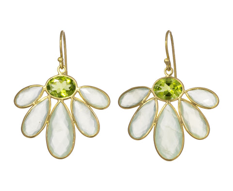 Peridot and Prehnite Echinacea Flower Earrings - TWISTonline