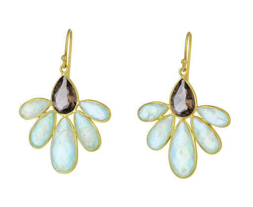 Smokey Quartz and Prehnite Autumn Echinacea Earrings - TWISTonline