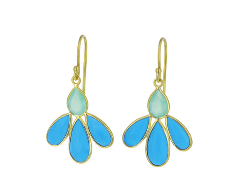 Turquoise and Chrysprase Echinacea Earrings