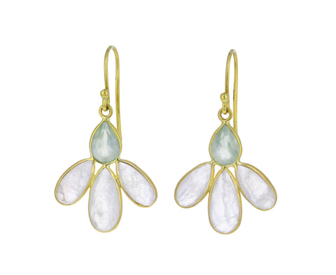 Rainbow Moonstone and Prehnite Echinacea Earrings