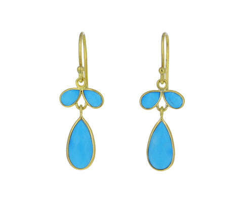 Turquoise Lotus Bud Earrings