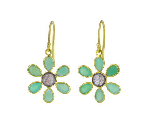 Chrysoprase and Labradorite Daffodil Earrings