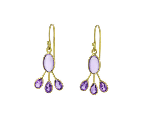 Amethyst Peacock Crest Earrings