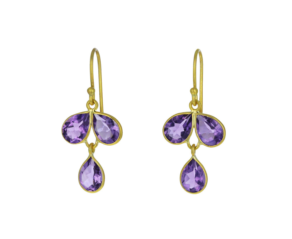 Amethyst Tri Petal Earrings