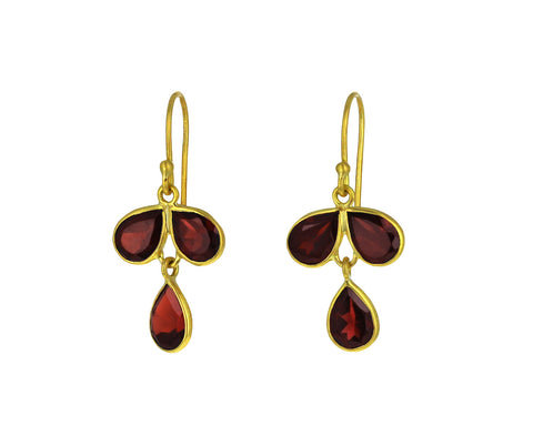 Garnet Tri Petal Earrings