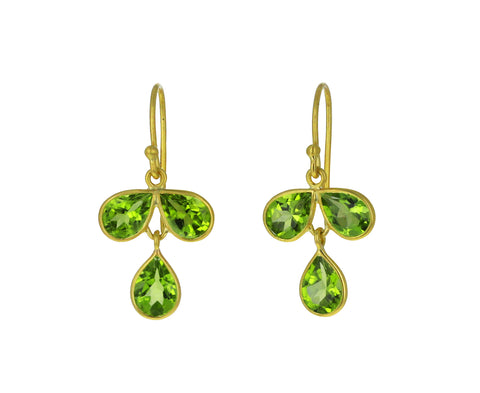 Peridot Tri Petal Earrings