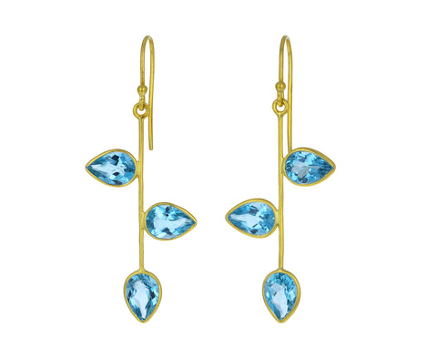 Blue Topaz Vine Earrings