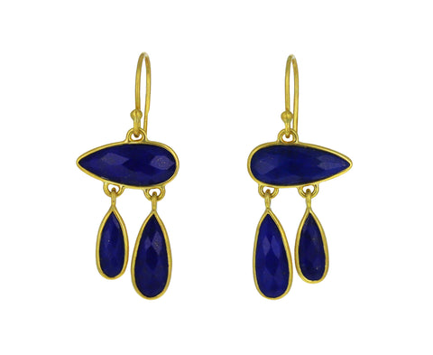 Lapis Orchid Petal Earrings