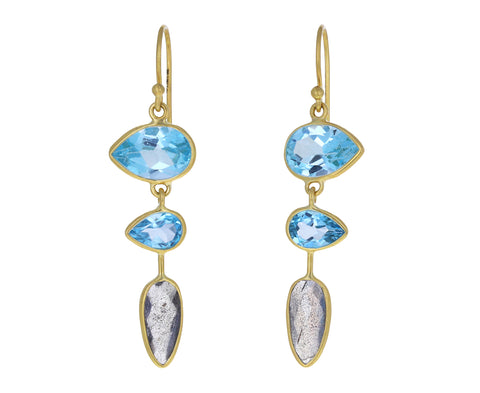 Blue Topaz and Labradorite Aspen Earrings