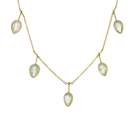 Prehnite Falling Leaves Fringe Necklace