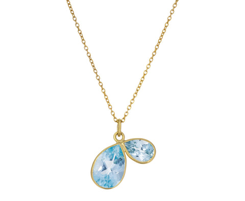 Blue Topaz Two Petal Necklace