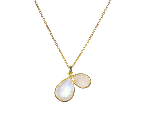 Rainbow Moonstone Double Petal Necklace - TWISTonline
