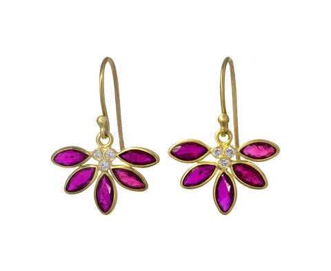 Ruby and Diamond Echinacea Earrings
