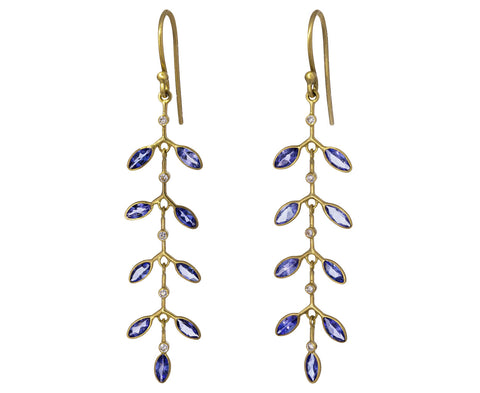 Tanzanite and Diamond Fern Earrings