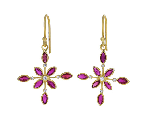 Ruby and Diamond Kaleidoscope Earrings