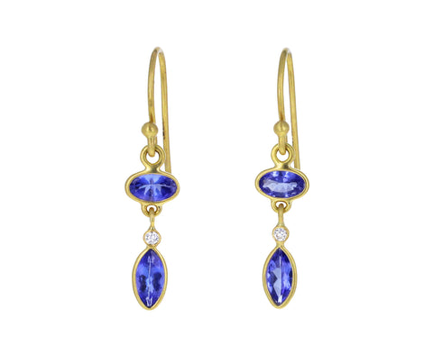 Tanzanite and Diamond Drop Earring