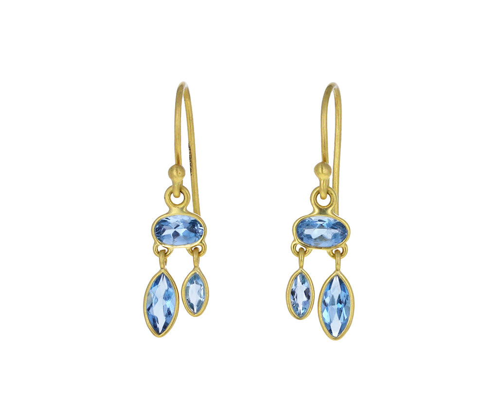 Aquamarine Dancing Petal Earrings