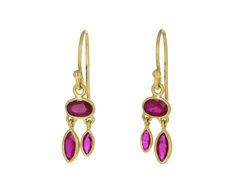 Ruby Dancing Petal Earrings