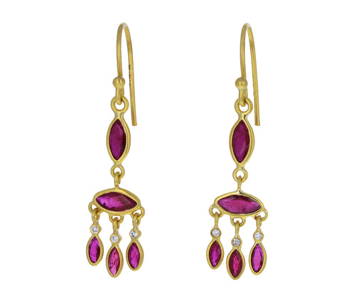 Ruby and Diamond Marquise Chandelier Earrings