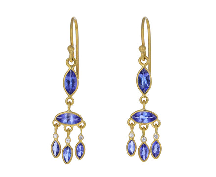 Tanzanite and Diamond Marquise Chandelier Earrings