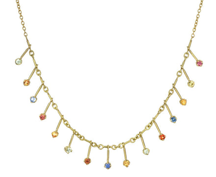 Multi Sapphire Shooting Star Fringe Necklace - TWISTonline