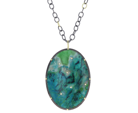 Parrot Wing Jasper and Diamond Necklace