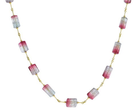 Watermelon Tourmaline Inline Necklace