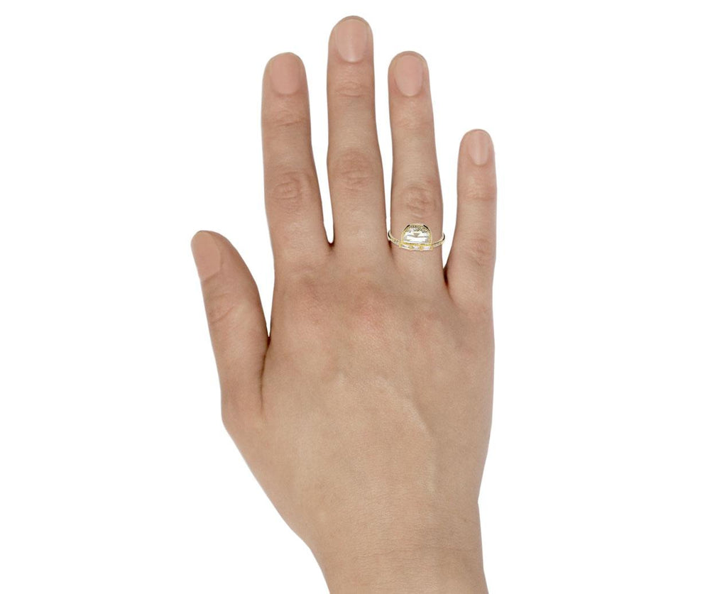 Half Moon Diamond Solitaire with Baguettes - TWISTonline