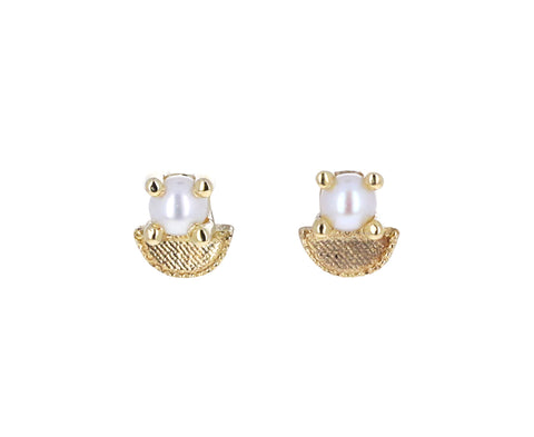 Pearl Half Moon Earrings