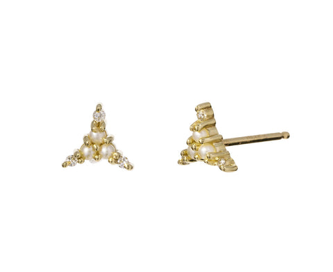 Gold Diamond and Pearl Triad Studs - TWISTonline