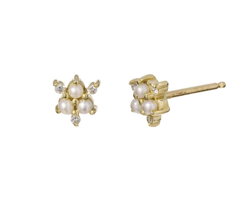Diamond and Pearl Snowflake Studs - TWISTonline