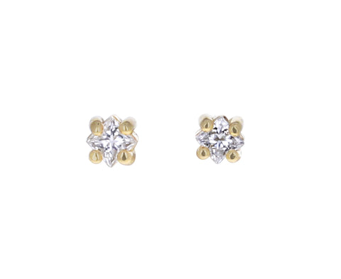 Tiny Princess Cut Diamond Stud Earrings