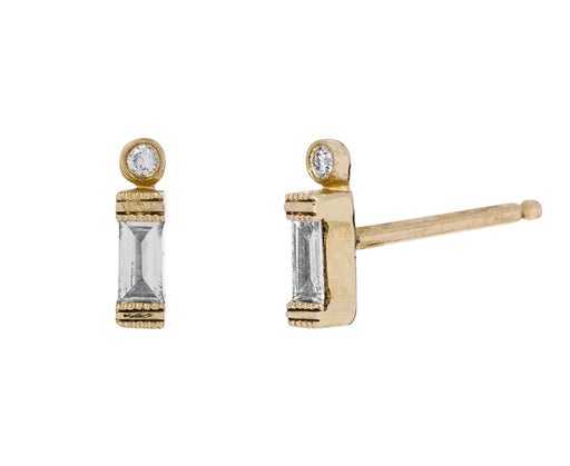 Baguette Diamond Dot Earrings