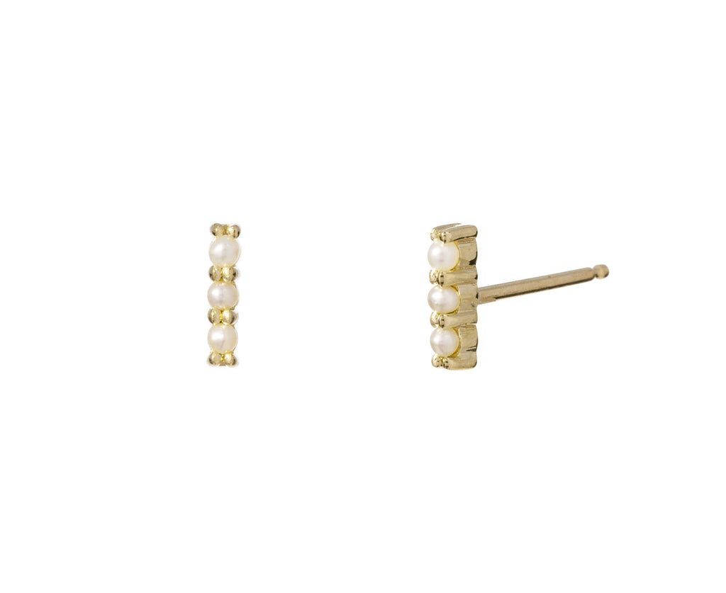 Gold Pearl Bar Stud Earrings - TWISTonline