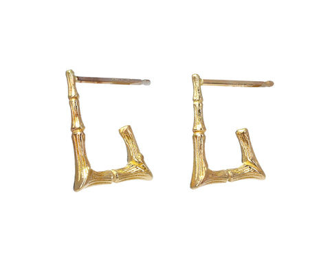 Mini Rectangular Doorknocker Hoop Earrings - TWISTonline