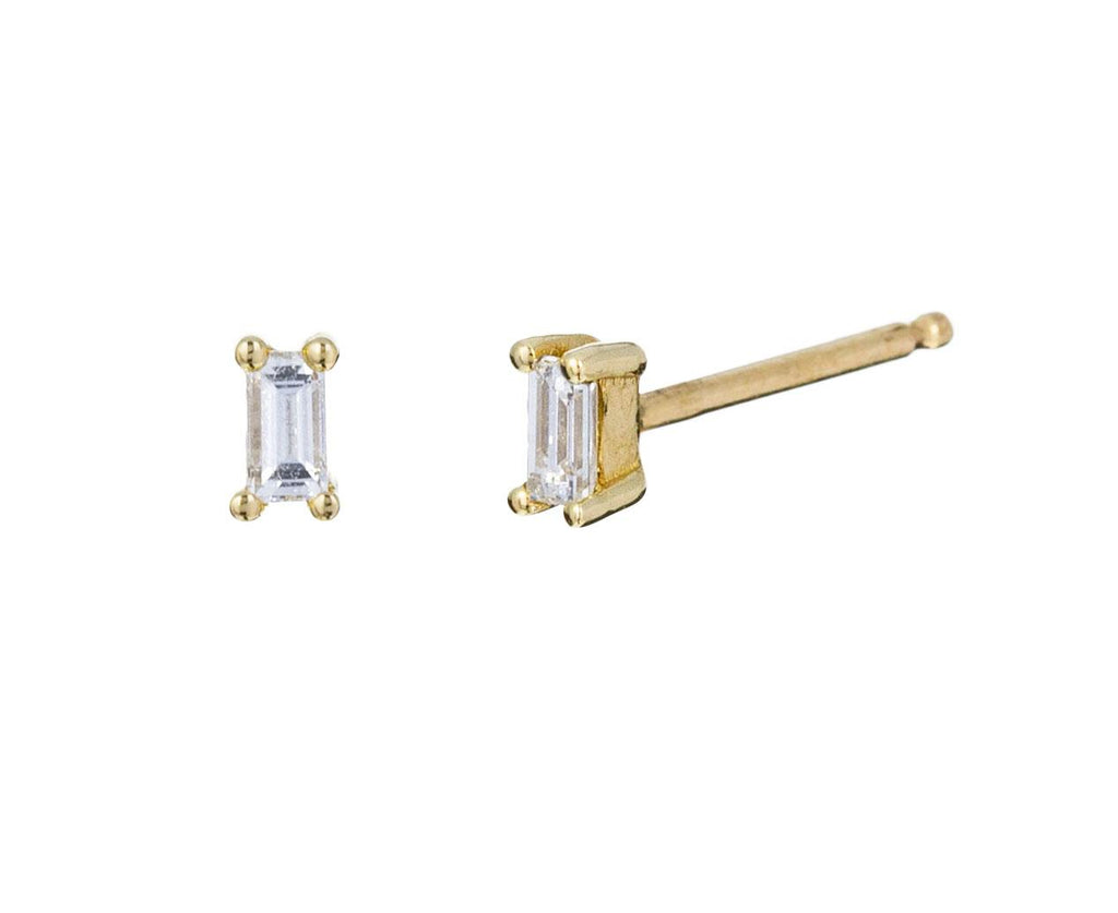 Tiny Diamond Baguette Earrings - TWISTonline