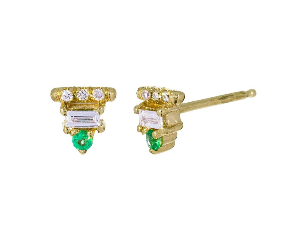 Tiny Emerald and Diamond Baguette Earrings - TWISTonline