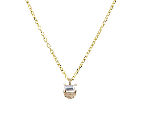 Diamond Baguette Half Moon Pendant Necklace - TWISTonline
