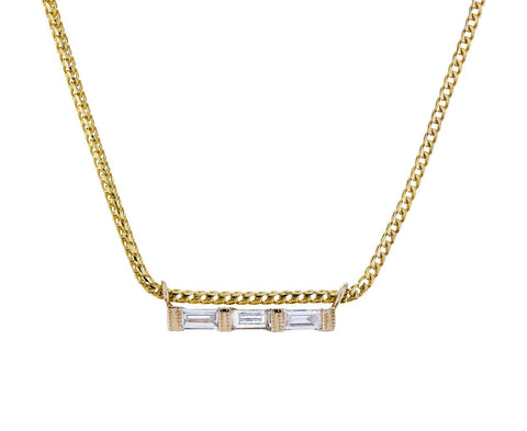 Triple Diamond Baguette Necklace - TWISTonline