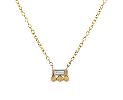 Baguette Diamond and Dots Necklace