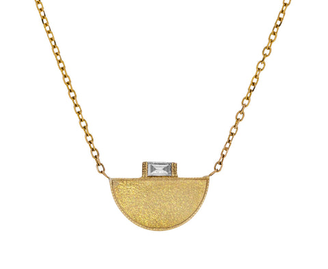 Half Moon Baguette Diamond Signet Necklace - TWISTonline