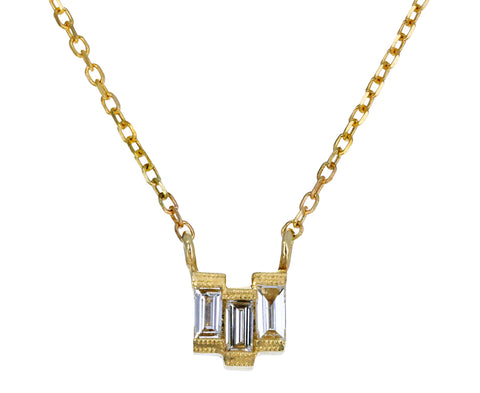 Baguette Diamond Step Necklace
