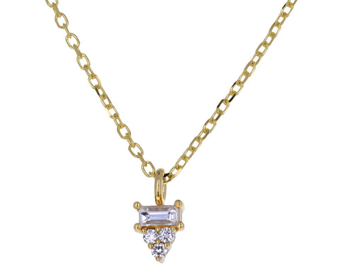 Baguette Diamond Cluster Pendant Necklace