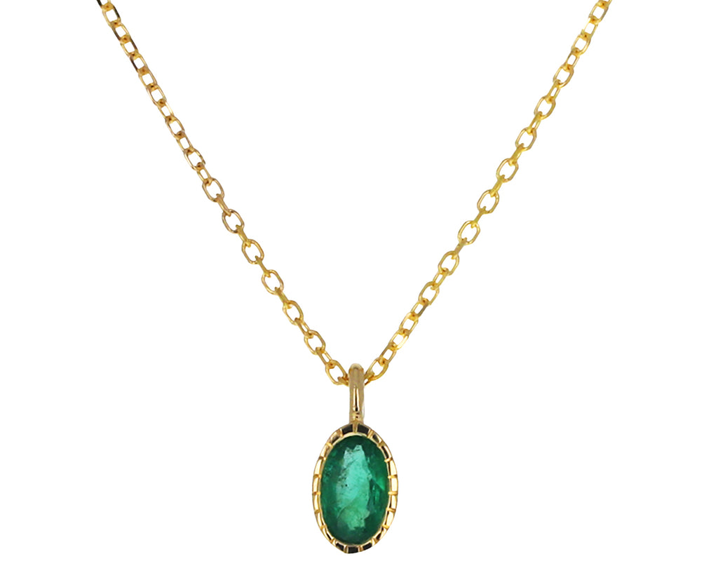 Oval Emerald Wisp Necklace