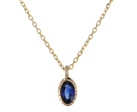 Oval Blue Sapphire Wisp Necklace