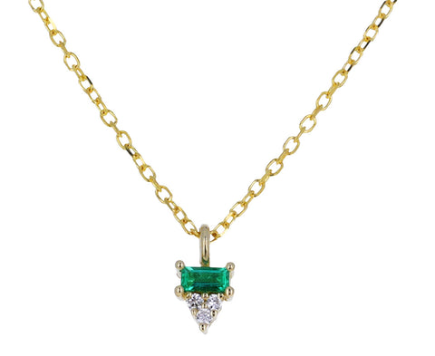 Baguette Emerald and Diamond Pendant Necklace