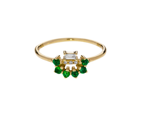 Emerald and Diamond Baguette Arch Ring