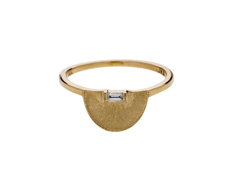 Half Moon Baguette Diamond Signet Ring - TWISTonline