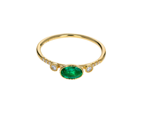 Emerald Diamond Dew Ring